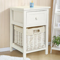 Modern Chic White Bedside Tables Fresh Look Small Storage Wicker Basket
