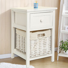 1x Modern Chic White Bedside table Fresh Look Small Storage Wicker Basket