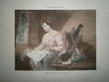 Gravure 19° 1899 couleur Peinture C. Monginot: Une plumeuse poule oie canard