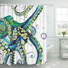 Waterproof Shower Curtain Colorful Octopus Print Bathroom Decor Shower Curtain