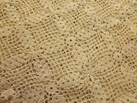 """Lovely Antique Crocheted Ecru Tablecloth 48x66"""""""