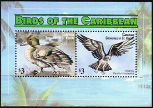 Gr. of St. Vincent 2011 MNH SS, Fish Eagle, Green Winged Teal, Water Birds