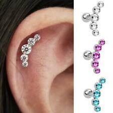 Earrings Ear Hook Stud Jewelry Gift Women Fashion Rhinestone Gold Silver Crystal