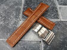 22mm Bracelet Cuir Miel Montre Marron Bande Boucle Déployante Set pour Breitling