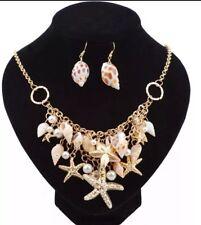 Shell Starfish Bib Choker Starement Necklace  Earrings set