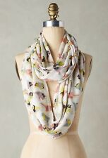 NEW Anthropologie Ornithology Infinity Scarf Bird Print