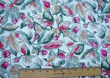 Vintage Omega Textile Floral Buds & Leaves Print Upholstery Drapery Fabric 2+Yds