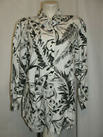 CHICO'S Top Women's Size L 2 Black White Printed Long Sleeve Button Shirt Blouse