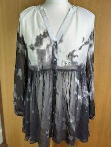 MINT VELVET sheer blouse Size 8 black white ombre gathered long tunic