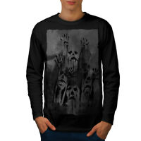 Wellcoda Ghost Apocalypse Zombie Mens Long Sleeve T-shirt, Scary Graphic Design
