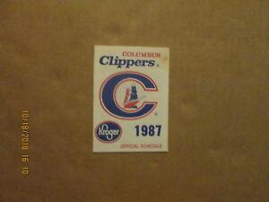 Columbus Clippers Vintage Circa 1987 Team Logo Baseball Pocket Schedule