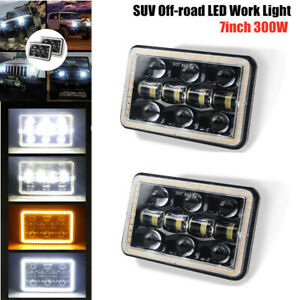 2PCS 7inch 300W SUV Off-road LED Work Light Aperture Flood Driving Lamp 30000LM