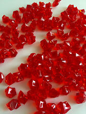 8Lb Crystal Acrylic Ice Rock Vase Gems/Table Scatters (Medium 2.5cm, Red)