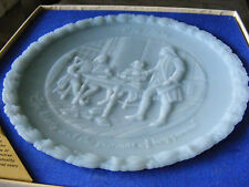 FENTON Powder Blue Glass Plate 1974 Commemorative Liberty Box #2 Franklin S3C7