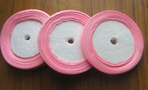 satin ribbon 3 x 25yds rolls 16mm, 12mm and 6mm  *SECONDS* pink purple white