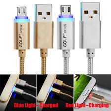 1M Aluminum Braided Micro USB 2.0 LED Light Data Sync Charger Cable For Phones