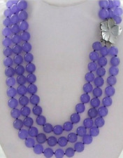 """3row AAA 18-20"""" Purple 10mm Lavender Round Jade Beads Necklace & Shell Clasp"""