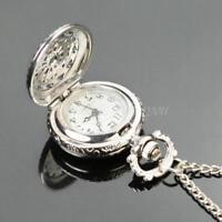Versilbert Umhängeuhr Kettenuhr Quarzuhr Uhr als Halskette Damen Taschenuhr Neu
