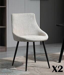 2 X Beige Fabric Upholstered Dining Chairs Metal Legs