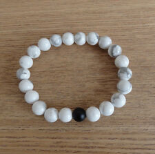 White Howlite Beaded Stretch Bracelet 8 MM Beads with Black Agate Accent Bead
