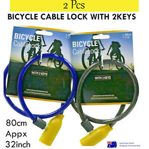 "Bicycle Cable Lock with 2 Keys 2 Pcs Value Pack 80cm 32""Inch Outdoor Safety Bike"