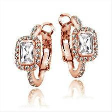 Rose Gold Tone 3ct White Topaz Emerald Cut Clutchless Earrings