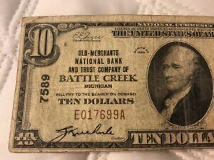 1929 NATIONAL CURRENCY $10 OLD-MERCHANTS TRUST BATTLE CREEK MI MICHIGAN CH 7589
