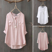 Women Tunic Loose Long Sleeve Top T Shirt Tee Button Up Pullover Cotton Blouse