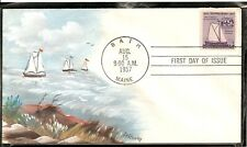 SCOTT 1069 SHIP BUILDING HENRY HAND PAINTED FIRST DAY COVER FDC BATH IRON WORKS