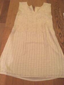 Yellow Embroidered Asian Indian Pakistani Salwar Kameez Suit Dress - Size 10