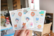 Cute Animals Bunny Monkey Lion Diary Decor Scrapbooking Stickers 2 sheets