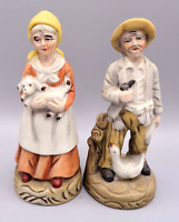 "Vintage Deville Porcelain Old Peasant Man & Woman Farm Workers  7"" Figurines"