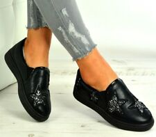 Womens Black Glitter Flat Casual Plimsolls Comfy Slip On Trainers Work Pumps 3-8