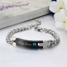 "Titanium, Black Toned Bracelet & Blue CZ , 7 1/2"" long w 2"" Extender"