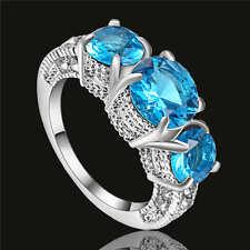Women's Oval Blue Aquamarine Wedding Ring 18K White Gold Filled Jewelry Size 9