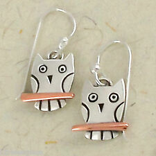 Far Fetched WISE OWL Earrings STERLING Silver & Copper Dangle Bird + Gift Box