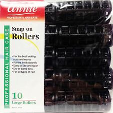 "ANNIE SNAP ON ROLLERS 10 LARGE ROLLERS 7/8"" NO PINS OR CLIPS NEEDED BLACK"
