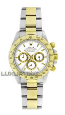Rolex Mens Watch 40MM SS & 18K Gold Daytona 16523 White Dial Zenith Movement