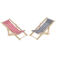 2pcs 1/12 Dollhouse Minature Beach / Poolside / Lawn Chair Fairy Garden