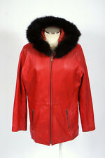 TIBOA Soft Red Leather Fur Hood Zip Bomber Jacket w/ Zip In Liner Womens Size XL