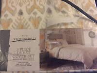 Threshold Global Ikat 3 Piece Duvet Comforter Cover Set Full/Queen New