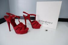 YSL Yves Saint Laurent Red Sandals Tribute Shoes Heels Size 37.5 Uk 4.5 Boxed