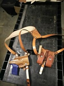 Sig Sauer P365 |  Horizontal Shoulder Holster with Double Mag Pouch leather