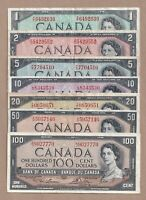 1954 Bank of Canada Notes - $1, $2, $5, $10, $20, $50, & $100 - Lot 1