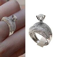 Mode Frauen Silberne Hochzeit Set Ringe Rundschnitt White Sapphire Größe 5 C1Y2