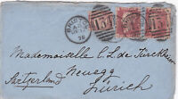1875 QV BRISTOL COVER WITH A ½d BANTAM & TWO 1d PENNY RED STAMPS SENT TO ZURICH