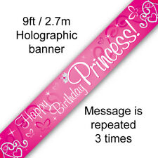 Princess Unicorn Happy Birthday Banner Pink Girl Party Decoration Partyware