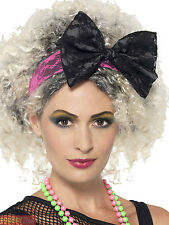 Adults 1980s Lace Headband Womans Pop Diva Fancy Dress Accessory Celebrity Bow
