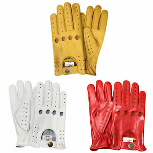 Prime top quality real soft leather men's driving gloves white/yellow/red 507