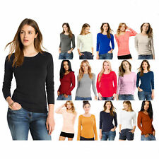 Womens Ladies Basic Long Sleeve Plain Round Neck Stretch Top T Shirt Plus Size